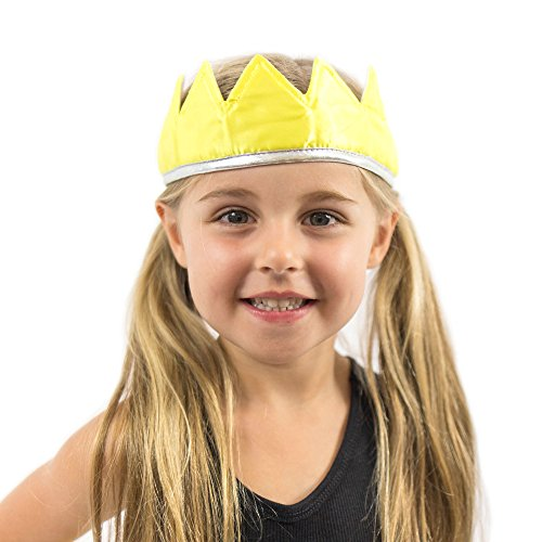 Everfan Yellow Satin Crown - Royal Princess, Prince, King, Queen, Dress Up Costume (The King In Yellow Costume)