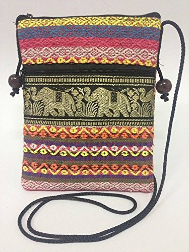 Nylon Box Saddlebag (Tribal Elephant Sling Crossbody Hippie Shoulder Purse Cell Phone Case , vera bradley hanging cosmetic bag , silk change purse)