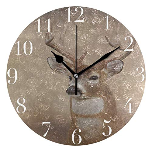 Deer Wall Clock - Dozili Vintage Whitetail Buck Deer Round Wall Clock Arabic Numerals Design Non Ticking Wall Clock Large for Bedrooms,Living Room,Bathroom