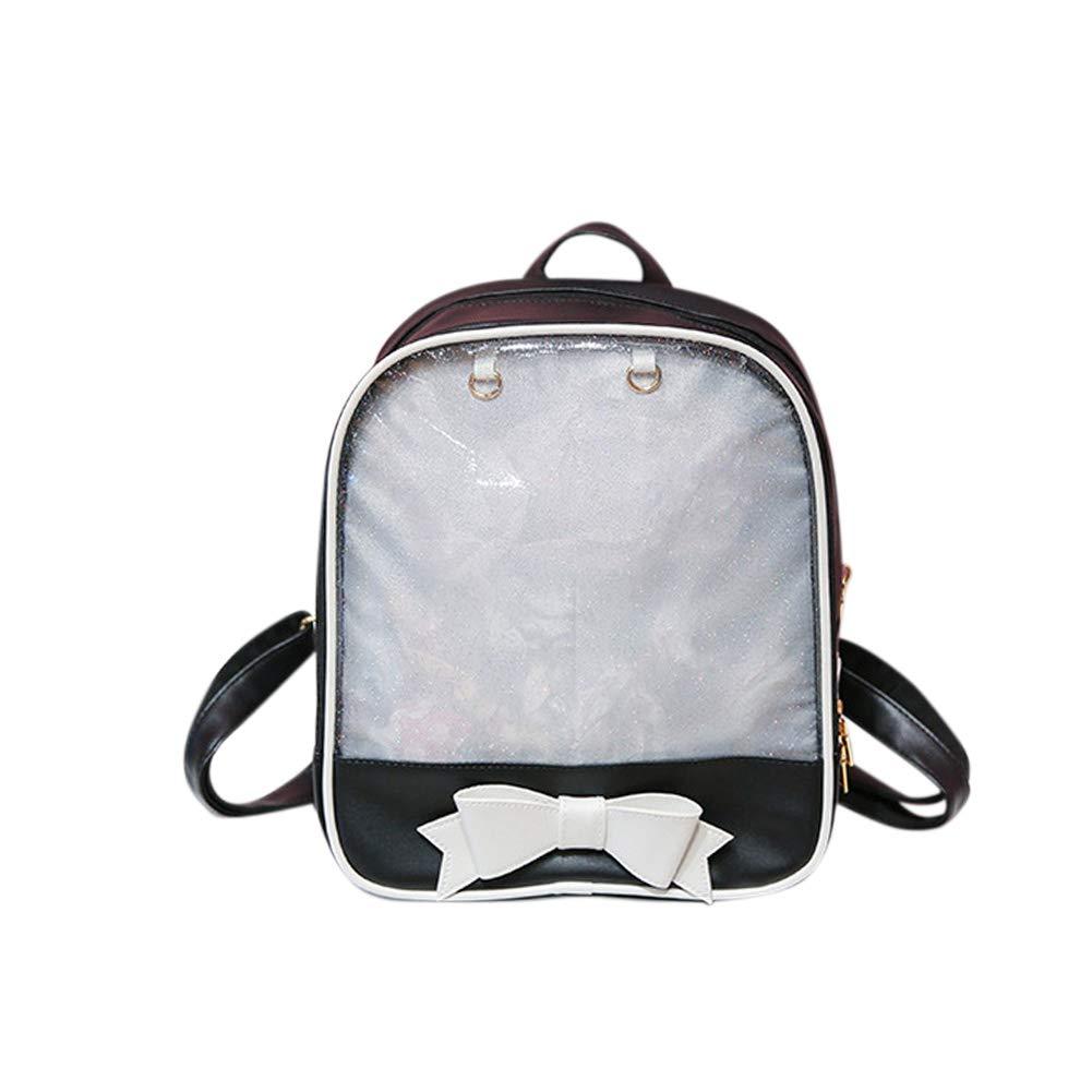 DSstyles Women Girl Double Shoulder Bag Bowknot Knapsack Transparent Backpack