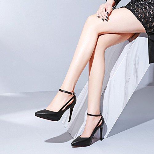 Hollow Zapatos corte del Negro de de fiesta Zapatos Black Womens tobillo Correa Closed de boda Tacones Plataforma Bombas altos Hebillas Toe Vestido wx0OFnOPqX