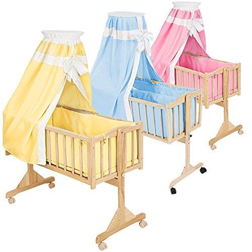 TecTake Komplette Babywiege Kinderbett Stubenbett Schaukelwiege inkl. Zubehör -diverse Farben- (Gelb)