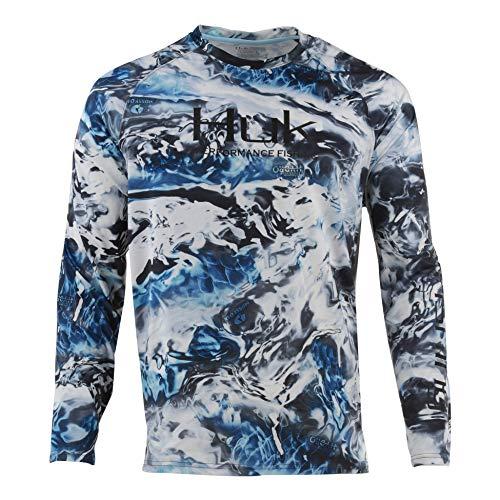 (Huk Men's Pursuit Camo Vented Long Sleeve Shirt, Hydro Glacier, 3X-Large)