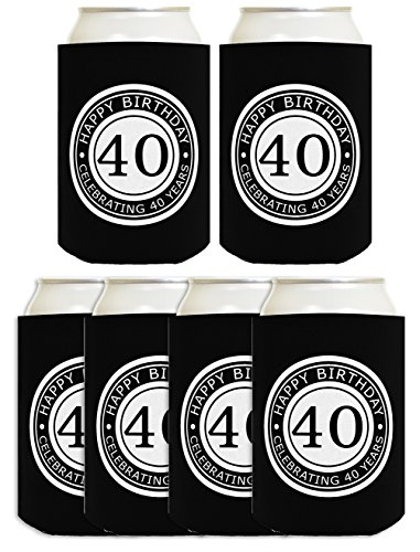 40th Birthday Gift Celebrating 40 Years 6 Pack Can Coolies Drink Coolers Black -