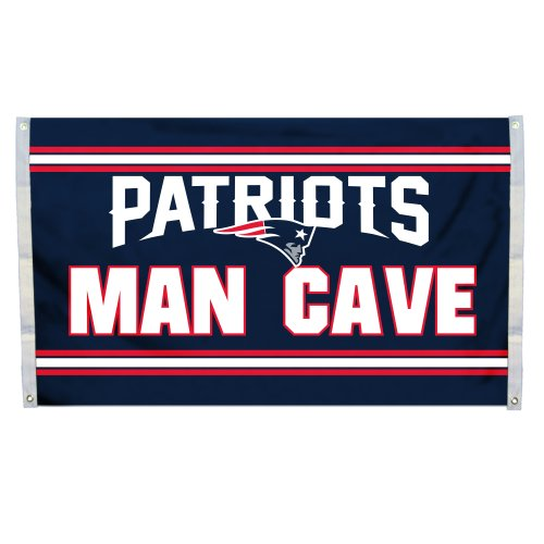 NFL New England Patriots Man Cave Flag with 4 Grommets, 3 x - Jersey New Mall Gardens