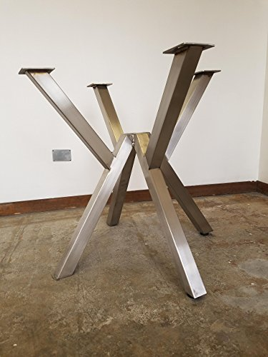 Brushed Stainless Metal V-Style Trestle Table base, Tapered Pedestal Style - Any Size and Color!