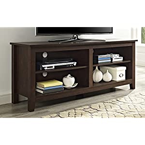 WE Furniture 58″ Wood TV Stand Storage Console, Driftwood
