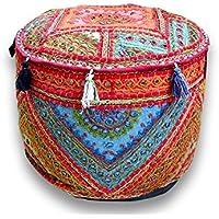 Navya Creations Bohemian Patch Work Pouf Ottoman,traditional Vintage Indian Pouf Floor Stool/foot Stool, Christmas Decorative Chiar Ottoman Cover,100% Cotton Art Decor Cushion Cover Pouf