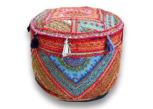 Bohemian Patch Work Pouf Ottoman,traditional Vintage Indian Pouf Floor Stool, Christmas Decorative Chiar Ottoman Cover,100% Cotton Art Decor Cushion Cover Pouf