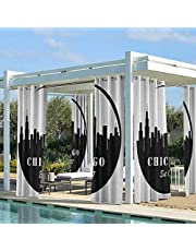 Chicago Skyline Modern Window Curtains Blackout Patio Outdoor Curtains American Town Famous Urban Design in Black I Love Chicago Architecture Black and White