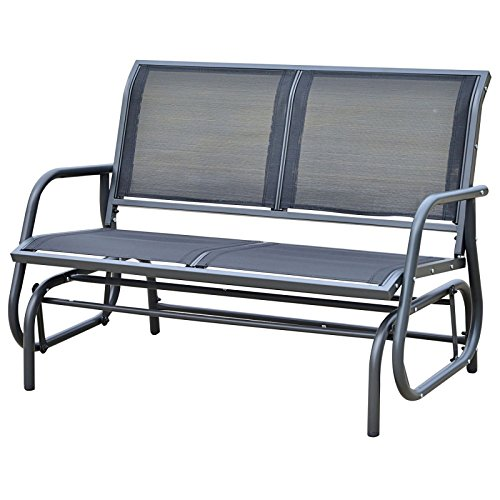 Patio Double 2 Person Glider Bench Rocker Porch Love Seat Swing Chair Grey #706 (Sam's Club Outdoor Furniture Replacement Cushions)