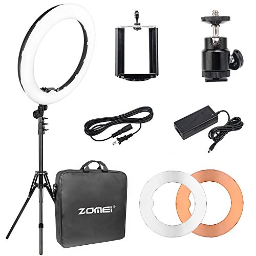"ZOMEi 18"" Dimmable LED Ring Light, 5500k Output YouTube Video Makeup Ring Light Stand, Plastic Diffuser Portable Carrying Bag"