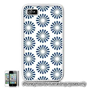 Blue Radiating Sun Bursts Pattern Apple iPhone 4 4S Case Cover Skin White