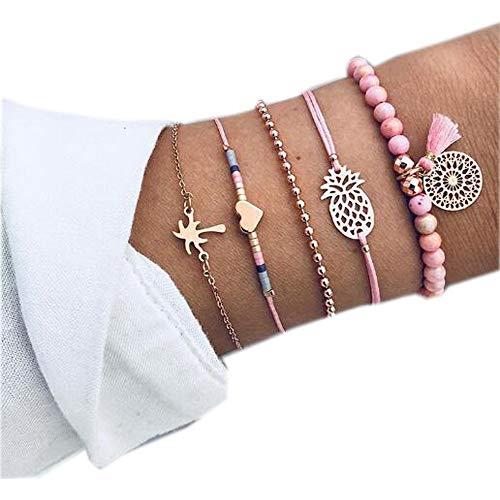 (Hogadget Women 5 PCS Boho Women Pineapple Tassels Heart Coconut Chain Bead Leather Bracelet Set Charm (Pink))