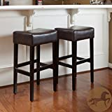 Christopher Knight Home 235134 Lopez Brown Leather Backless Bar Stools (Set of 2) For Sale