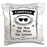 3D Rose Christian the Man the Myth the Legend Name Personalized Gift Pillow Case, 16'' x 16''
