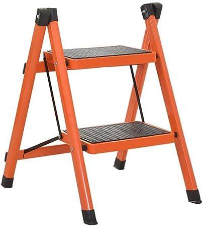 XITER Escalera Plegable para el Taburete del escalón para Adultos Escalera de Hierro Plegable en la Cocina con peldaños Antideslizantes (Color : Naranja): Amazon.es: Hogar