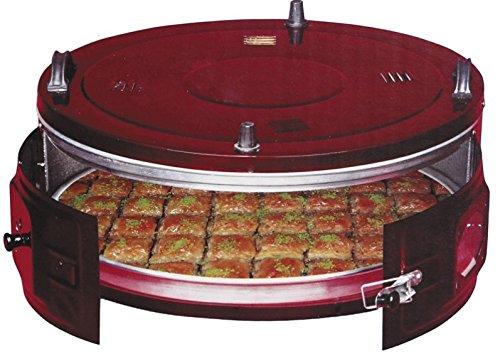 JOLTA Four à galettes turques Davul Firin, électrique, support à l'arrière, pour yufka / katmer / saci / baklava / börek, rouge/noir, XXXL 40L électrique