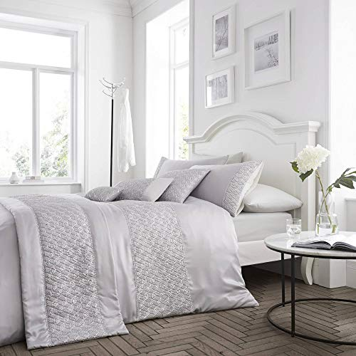 Linens Silk Throw - Happy Linen Company Sequin Diamante Trim Luxury Silver Quilted Runner