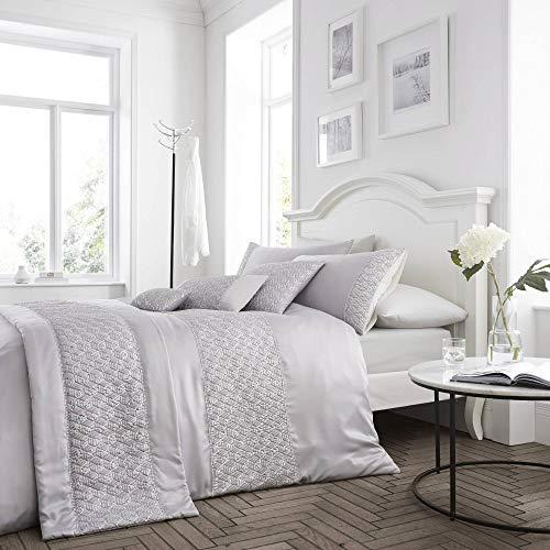 Happy Linen Company Sequin Diamante Trim Luxury Silver UK King/US Queen Duvet Cover Bedding Set