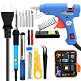 ANBES Soldering Iron Kit Electronics, 60W Adjustable Temperature Welding Tool,Soldering Gun with 5pcs Soldering Tip,Soldering Iron Stand,20W Glue Gun,Wire Stripper Cutter,2pcs Electronic Wire
