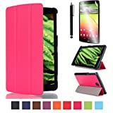 LG G pad 7.0 Case,Beebiz PU Leather and Hard PC Back Smart Cover Flip Folio Case for LG G Pad 7.0 V400 / V410 (LTE) 7-Inch Android Tablet Cases and Covers with Screen Protector and Touch pen (3-Fold,Rose)