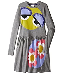 Fendi Kids Girl's Long Sleeve Fit and Flare Dress w/ Monster Eye Graphic (Big Kids) Grey Dress 10 Years