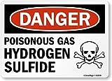 "SmartSign ""Danger: Poisonous Gas Hydrogen Sulfide"" with Graphic, Vinyl Label, 10"" x 14"""