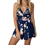 INIBUD Women's Romper Sexy Floral Twisted Back Tie Wide Leg Spaghetti Straps Sleeveless Shorts Jumpsuits (Ultramarine, S)