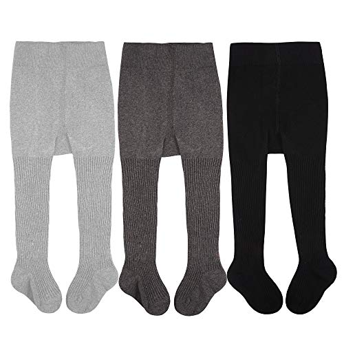 - CozyWay Baby Toddler Girls Tights Knit Cotton Pantyhose Dance Leggings Pants Stockings (3 Pack Striped Black Gray Llight Gray, 1-2 Years)