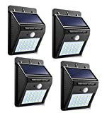 [Solnergy] 20 LED Bright Solar Sensor Light Dim Outdoor Motion Lighting Big Power Button Security Motion Sensor Lamp Light Auto On/Off for Patio Yard Garden Driveway Stairs Pool Area (4 in Pack)