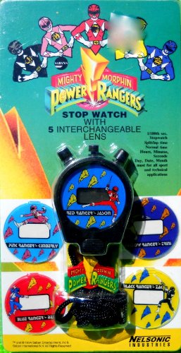 Power Rangers Mighty Morphin Stop Watch with 5 Interchangeable Lens - Ranger Lenses