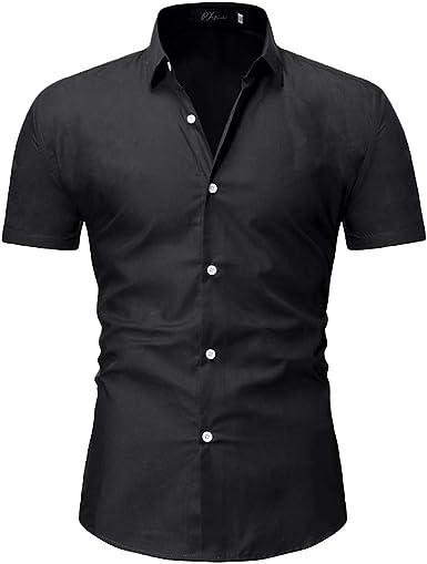HCFKJ Camisetas Hombre Camisas De Manga Corta para Hombre Camisa De Corte Slim Formal Formal Top S M L XL XXL: Amazon.es: Ropa y accesorios