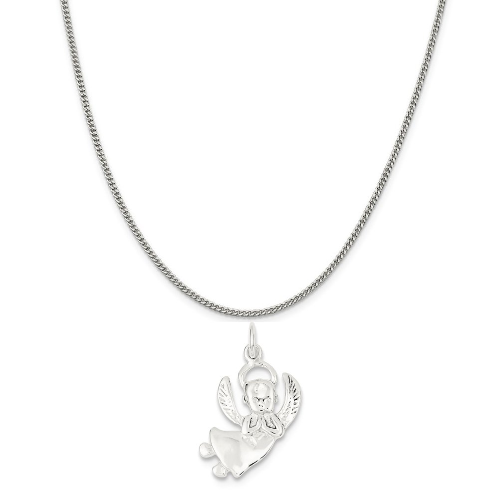 16-20 Mireval Sterling Silver Angel Charm on a Sterling Silver Chain Necklace