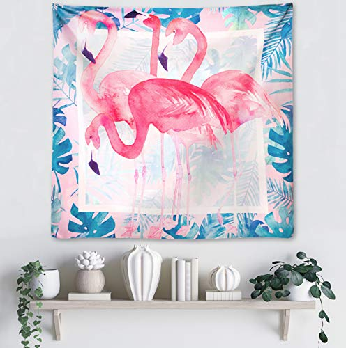 - Odumak Pink Watercolor Flamingo Tapestry Abstract Splatter Painting Tapestries Wall Hanging Art for Picnic Living Room Bedroom Dorm Home Décor [59.1