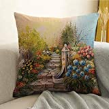 Flower Bedding Soft Pillowcase Opium Poppy Field and Beautiful Yard Sunset Over The Ocean Under The Clouds Picture Hypoallergenic Pillowcase W24 x L24 Inch Multicolor