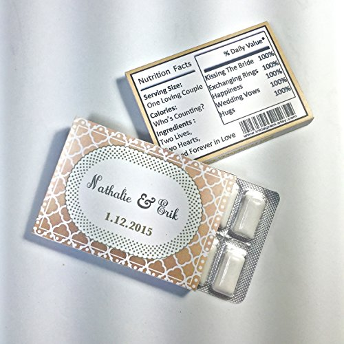 12 Ct Wedding Custom Chewing Gum Packs Personalized any Occasion Party Favors (Chewing Gum Wrapper)