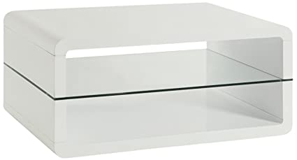 Coaster Modern White Coffee Table With 2 Shelves