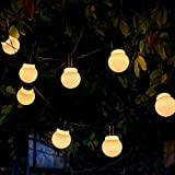Auraglow Set of 10 Solar String Festoon Lanterns LED Fairy Lights Retro Garden Lamps - White Cove