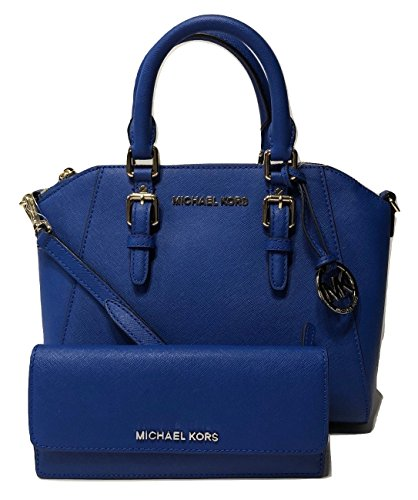 Michael Kors Ciara MD Messenger Handbag bundled with Michael Kors Jet Set Travel Flat Wallet (Electric Blue) by Michael Kors