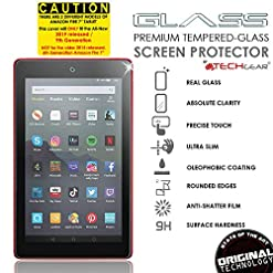 TECHGEAR GLASS Edition fits All New Amazon Fire 7″ Tablet (2019 Release / 9th Generation) – Genuine Tempered Glass Screen Protector Cover [2.5D Round Edge] [9H] [Crystal Clarity] [Scratch-Resistant]