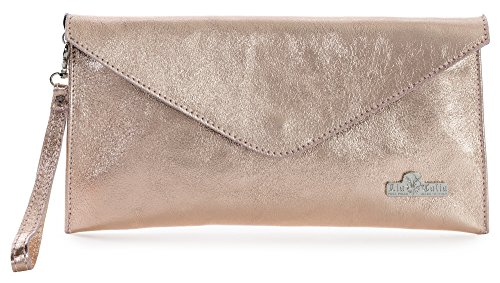 Leah by LiaTalia Italian Suede Leather Envelope Evening Clutch Bag with Cotton Lining and a Dust Protection Bag (Metallic - Rose Gold)