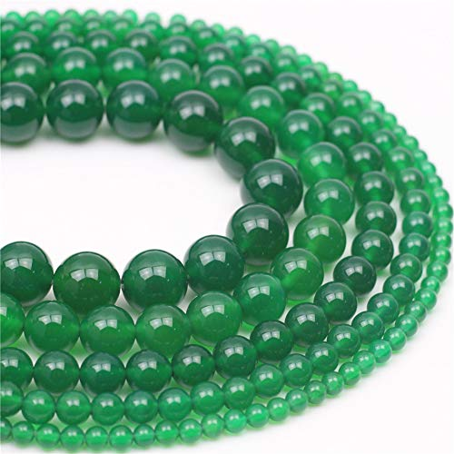 Round 12mm Bead Green - Oameusa 12mm Green Agate Stone Natural Round Smooth Beads Gemstone Beads Loose Beads Agate Beads for Jewelry Making 15