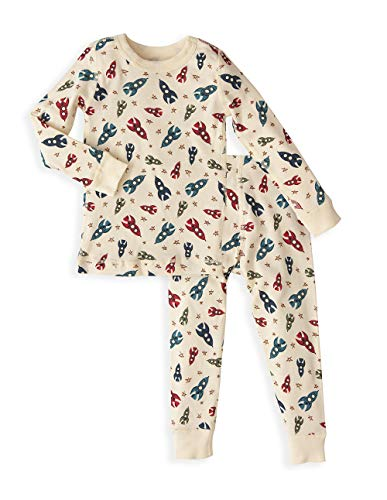 - Skylar Luna Boy's Long Sleeve Stripes and Prints Pajamas Set - 100% Soft Organic Cotton Shirt Pants (4, Spaceship)