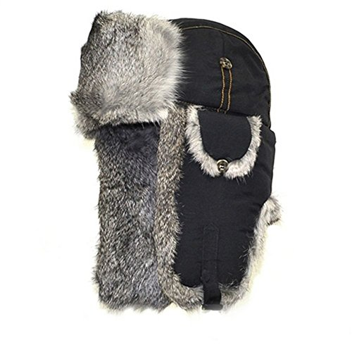 Mad Bomber Original Balaclavas Headwear, Large, Black with Grey Rabbit (Fold Down Earflaps)