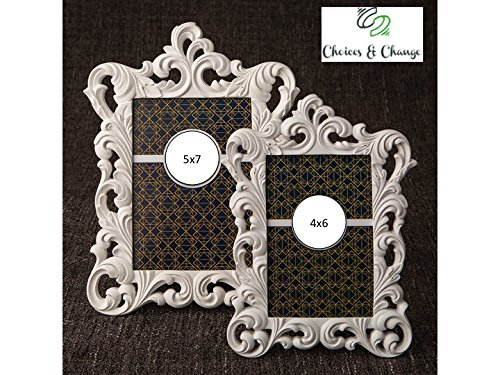 Set of 2 Elegant Baroque-Design White - Baroque Frame White