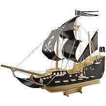 MXTECHNIC 3D Assemble Puzzle,Wooden Pirate Ship Model Boat Kits(129pcs) Sailing Boat Model Kits for Adults