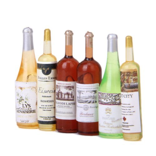6Pcs Colorful Wine Bottles Dollhouse Miniature 1:12 Scale