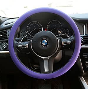 OHF Natural Silicone Candy-colored Steering Wheel Cover Super Feel Skid Environmental Tasteless Silicone Universal (Purple)