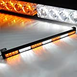 Xprite 31.5 White & Yellow 7 Modes Traffic Advisor Emergency Warning Vehicle Strobe Light Bar Kit